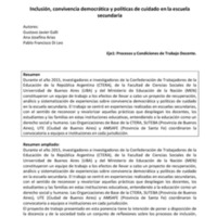 E1 - Galli, Arias, Di Leo - Inclusión, convivencia democrática y políticas de cuidado en la escuela secundaria.pdf